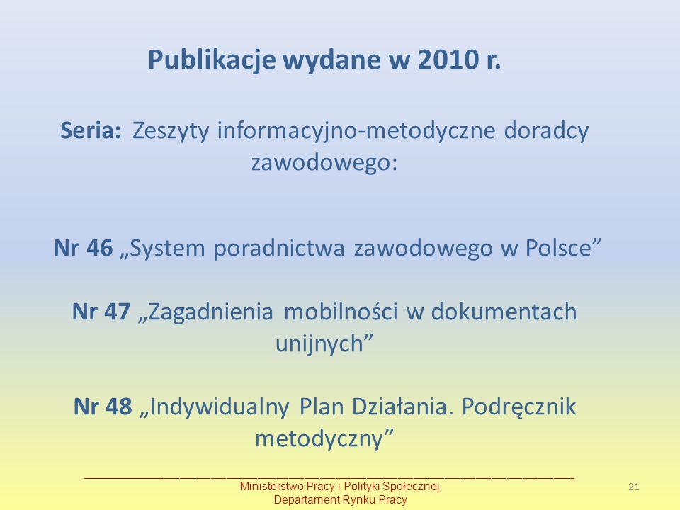 Publikacje wydane w 2010 r. Seria: Zeszyty informacyjno-metodyczne doradcy zawodowego: Nr 46 System poradnictwa zawodowego w Polsce Nr 47 Zagadnienia