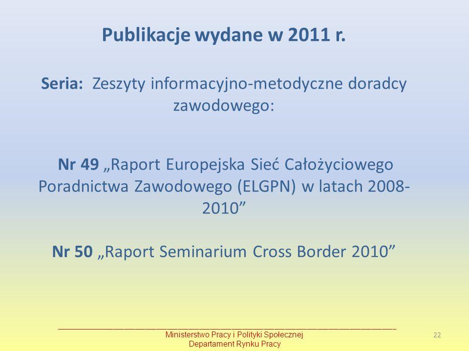 Publikacje wydane w 2011 r. Seria: Zeszyty informacyjno-metodyczne doradcy zawodowego: Nr 49 Raport Europejska Sieć Całożyciowego Poradnictwa Zawodowe