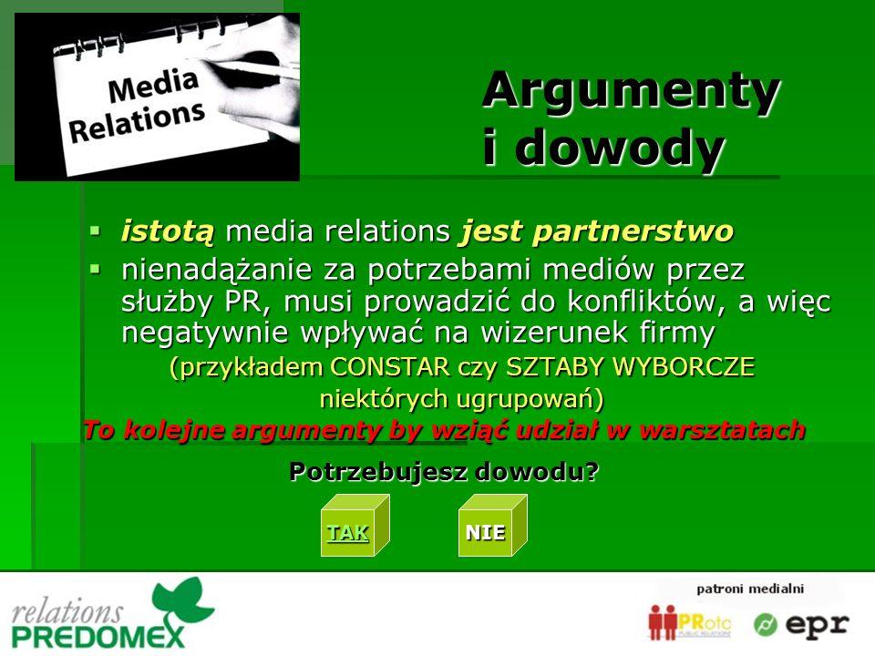 istotą media relations jest partnerstwo istotą media relations jest partnerstwo nienadążanie za potrzebami mediów przez służby PR, musi prowadzić do konfliktów, a więc negatywnie wpływać na wizerunek firmy nienadążanie za potrzebami mediów przez służby PR, musi prowadzić do konfliktów, a więc negatywnie wpływać na wizerunek firmy (przykładem CONSTAR czy SZTABY WYBORCZE niektórych ugrupowań) Argumenty i dowody To kolejne argumenty by wziąć udział w warsztatach Potrzebujesz dowodu.