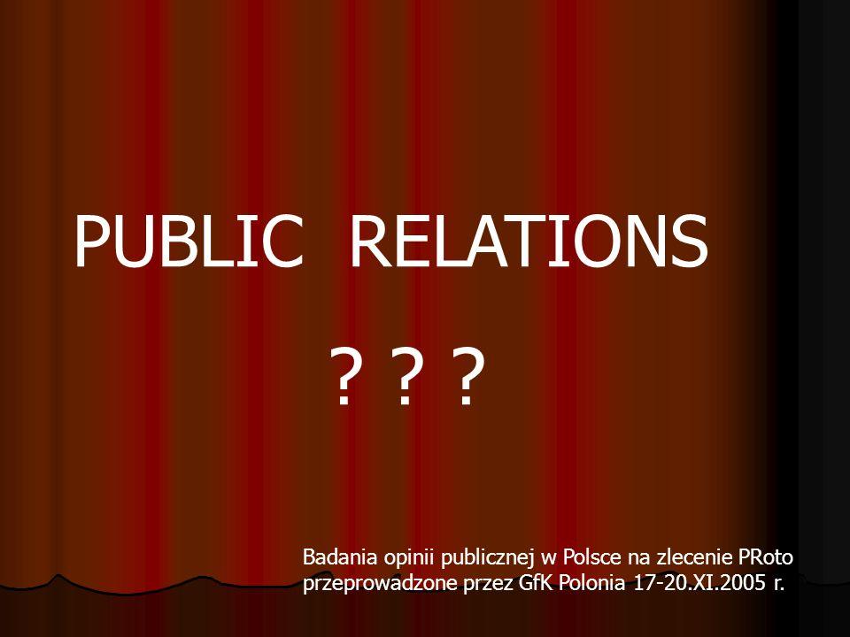 PUBLIC RELATIONS ? ? ? Badania opinii publicznej w Polsce na zlecenie PRoto przeprowadzone przez GfK Polonia 17-20.XI.2005 r.