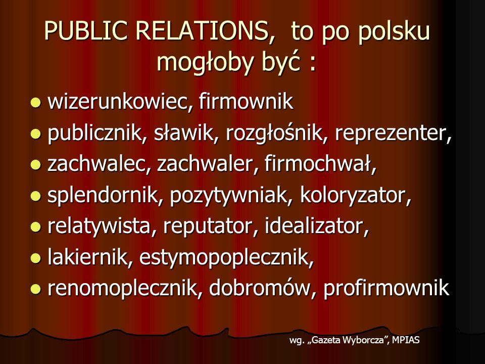 PUBLIC RELATIONS, to po polsku mogłoby być : wizerunkowiec, firmownik wizerunkowiec, firmownik publicznik, sławik, rozgłośnik, reprezenter, publicznik