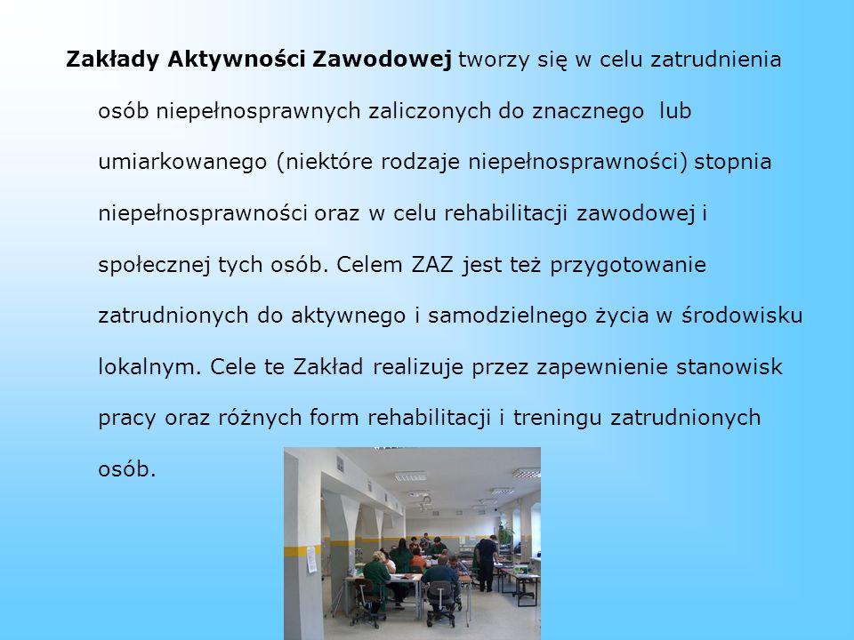Zakład Aktywności Zawodowej Zakład Introligatorsko-Drukarski Stowarzyszenia Teatr Grodzki Istnieje od grudnia 2004 r. Daje pracę 40 osobom z niepełnos