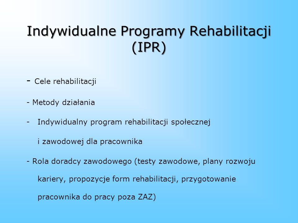 Rehabilitacja zawodowa w ZAZ to m.in.: 1. Odpowiednie dostosowanie stanowiska pracy. 2. Kwestionariusz samooceny zawodowej osoby z niepełnosprawnością