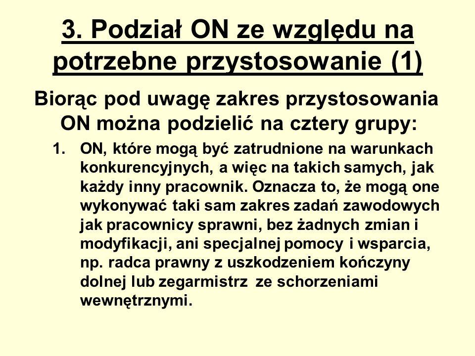 3. Podział ON ze względu na potrzebne przystosowanie (1) Biorąc pod uwagę zakres przystosowania ON można podzielić na cztery grupy: 1.ON, które mogą b