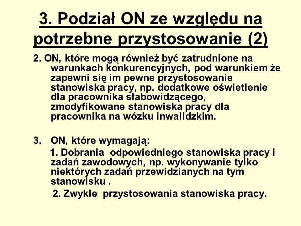 3. Podział ON ze względu na potrzebne przystosowanie (2) 2. ON, które mogą również być zatrudnione na warunkach konkurencyjnych, pod warunkiem że zape