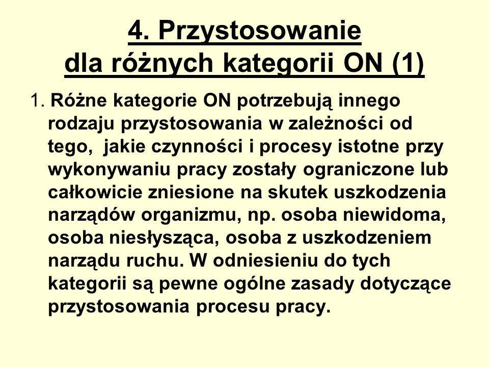 4. Przystosowanie dla różnych kategorii ON (1) 1. Różne kategorie ON potrzebują innego rodzaju przystosowania w zależności od tego, jakie czynności i