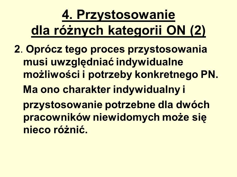 4. Przystosowanie dla różnych kategorii ON (2) 2. Oprócz tego proces przystosowania musi uwzględniać indywidualne możliwości i potrzeby konkretnego PN