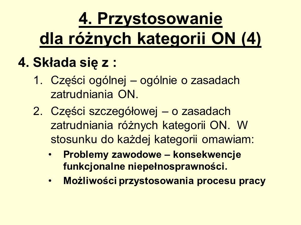 4. Przystosowanie dla różnych kategorii ON (4) 4. Składa się z : 1.Części ogólnej – ogólnie o zasadach zatrudniania ON. 2.Części szczegółowej – o zasa