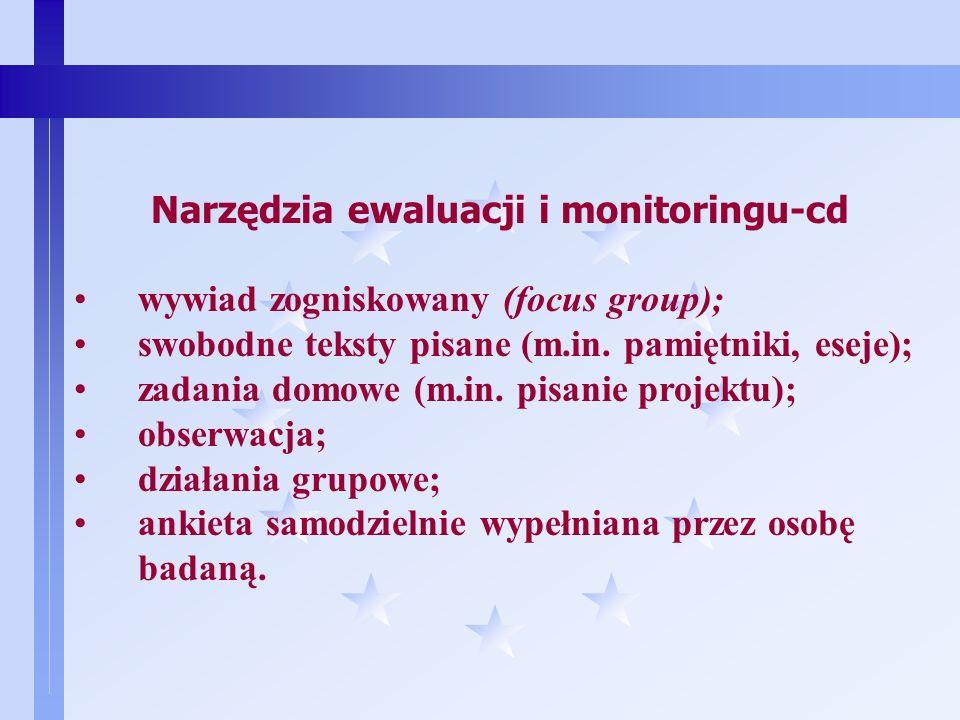 11 Narzędzia ewaluacji i monitoringu ankieta w formie papierowej; wywiad kwestionariuszowy (czyli wywiad przeprowadzony przez ankietera w oparciu o stałe dyspozycje / pytania); ankieta telefoniczna; ankieta internetowa; ankieta e-mailowa; pytanie sondażowe przesyłane sms-em; wywiad swobodny pogłębiony;