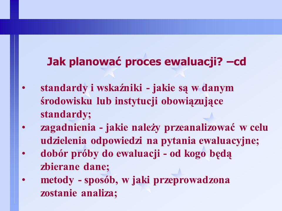 7 Jak planować proces ewaluacji? Należy określić następujące elementy: temat ewaluacji - co podlega ewaluacji; pytania ewaluacyjne - na jakie pytania