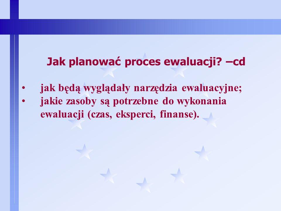8 Jak planować proces ewaluacji? –cd standardy i wskaźniki - jakie są w danym środowisku lub instytucji obowiązujące standardy; zagadnienia - jakie na