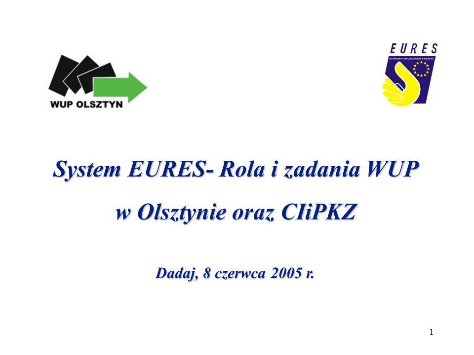 1 System EURES- Rola i zadania WUP w Olsztynie oraz CIiPKZ Dadaj, 8 czerwca 2005 r.