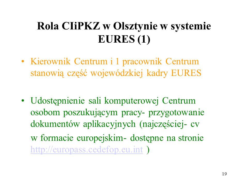 19 Rola CIiPKZ w Olsztynie w systemie EURES (1) Kierownik Centrum i 1 pracownik Centrum stanowią część wojewódzkiej kadry EURES Udostępnienie sali komputerowej Centrum osobom poszukującym pracy- przygotowanie dokumentów aplikacyjnych (najczęściej- cv w formacie europejskim- dostępne na stronie http://europass.cedefop.eu.int ) http://europass.cedefop.eu.int