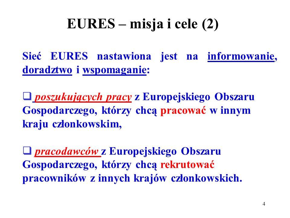 4 EURES – misja i cele (2) Sieć EURES nastawiona jest na informowanie, doradztwo i wspomaganie: poszukujących pracy z Europejskiego Obszaru Gospodarczego, którzy chcą pracować w innym kraju członkowskim, pracodawców z Europejskiego Obszaru Gospodarczego, którzy chcą rekrutować pracowników z innych krajów członkowskich.