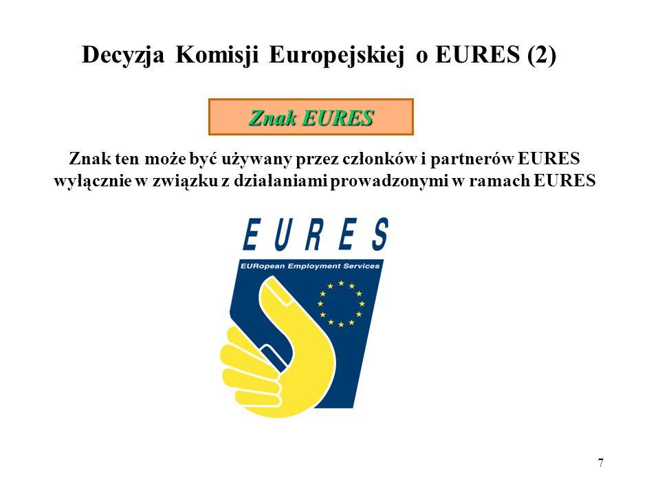 7 Decyzja Komisji Europejskiej o EURES (2) Znak EURES Znak ten może być używany przez członków i partnerów EURES wyłącznie w związku z działaniami prowadzonymi w ramach EURES