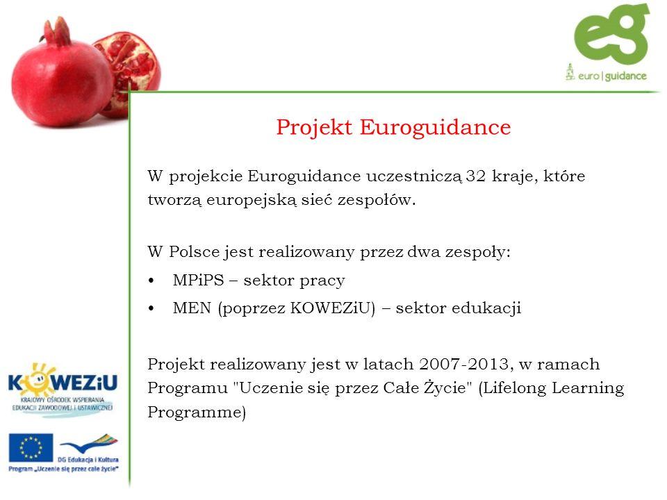 Główne cele projektu Euroguidance to: promowanie europejskiego wymiaru w poradnictwie dostarczanie informacji na temat całożyciowego poradnictwa oraz wspieranie mobilności zawodowej i edukacyjnej obywateli Europy