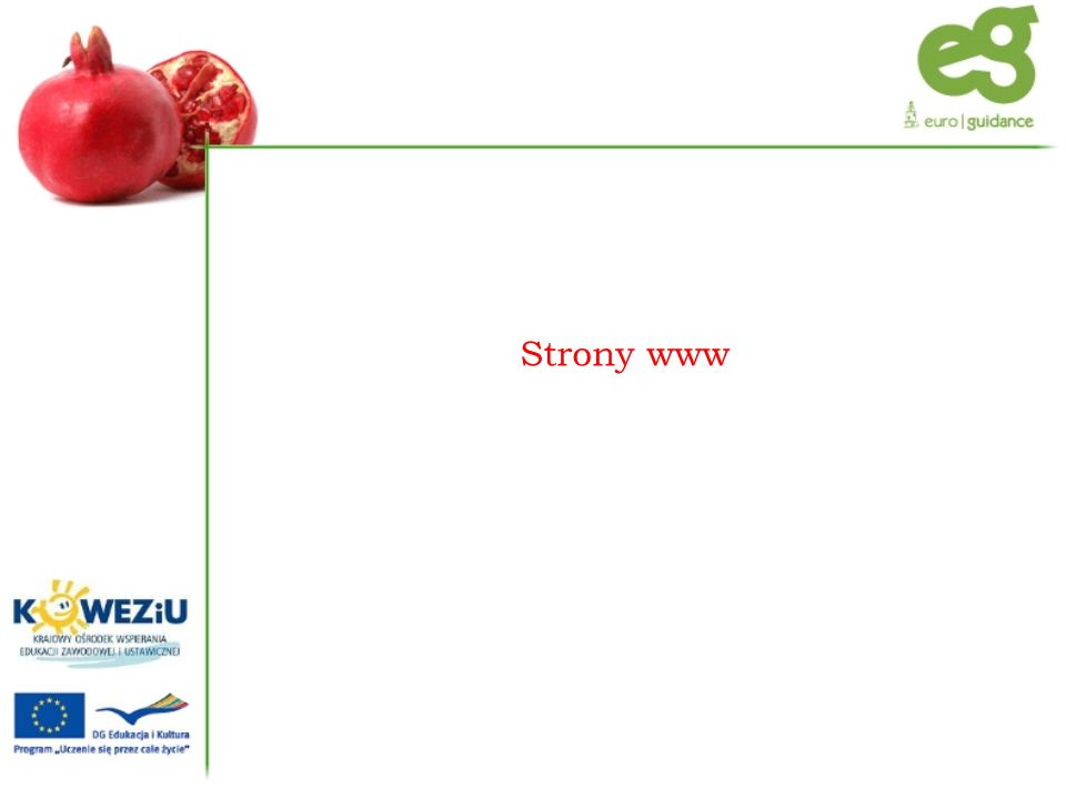 Krajowy Ośrodek Wspierania Edukacji Zawodowej i Ustawicznej www.koweziu.edu.plwww.koweziu.edu.pl Eurodoradztwo Polska www.euroguidance.plwww.euroguidance.pl Facebook http://www.facebook.com/pages/Euroguidance- Polska/174128089276413 http://www.facebook.com/pages/Euroguidance- Polska/174128089276413 Platforma Edukacyjna www.koweziu.edu.pl/moodlewww.koweziu.edu.pl/moodle PLOTEUS (Portal dotyczący możliwości edukacyjnych w Europie) http://ec.europa.eu/ploteus/home.jsp?language=pl http://ec.europa.eu/ploteus/home.jsp?language=pl
