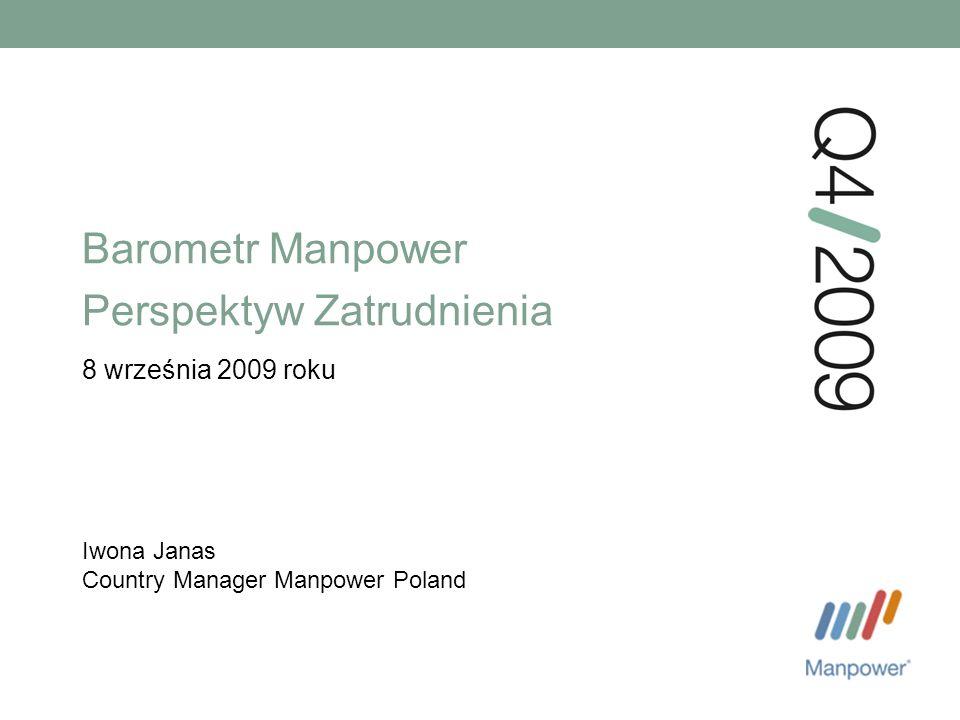 Barometr Manpower Perspektyw Zatrudnienia 8 września 2009 roku Iwona Janas Country Manager Manpower Poland