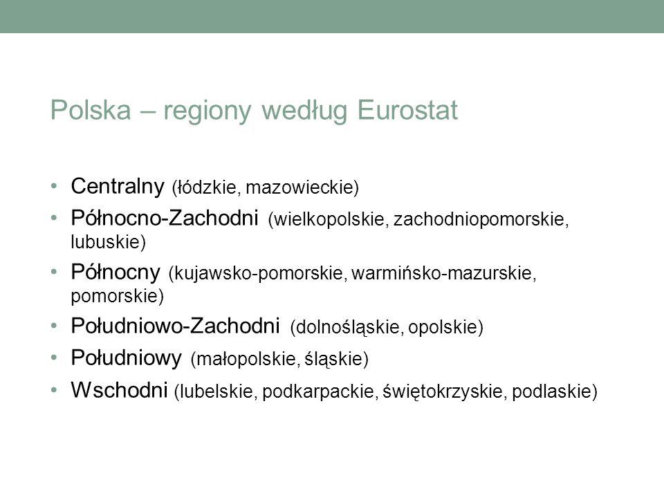 Centralny (łódzkie, mazowieckie) Północno-Zachodni (wielkopolskie, zachodniopomorskie, lubuskie) Północny (kujawsko-pomorskie, warmińsko-mazurskie, pomorskie) Południowo-Zachodni (dolnośląskie, opolskie) Południowy (małopolskie, śląskie) Wschodni (lubelskie, podkarpackie, świętokrzyskie, podlaskie) Polska – regiony według Eurostat