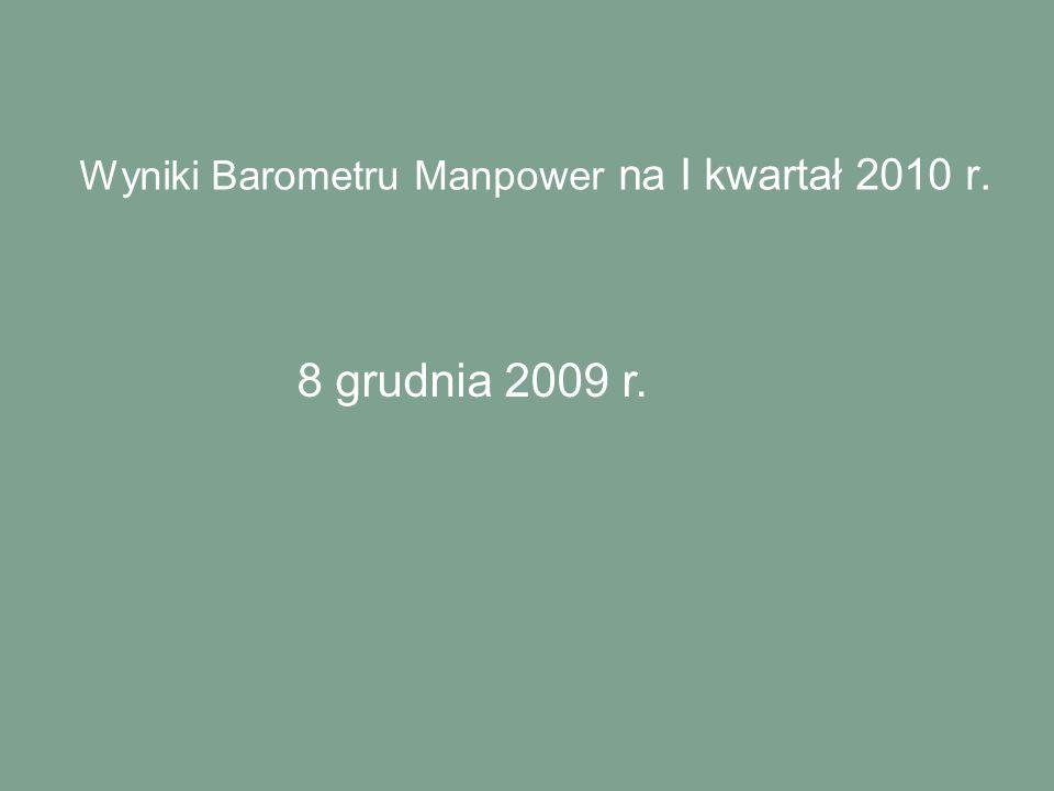 Wyniki Barometru Manpower na I kwartał 2010 r. 8 grudnia 2009 r.