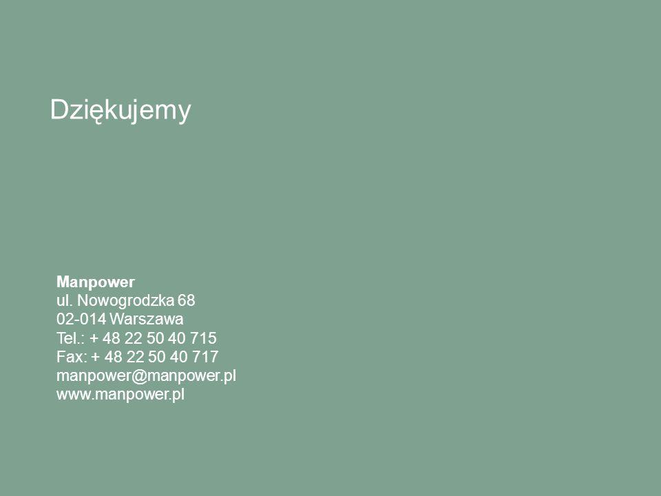 Dziękujemy Manpower ul. Nowogrodzka 68 02-014 Warszawa Tel.: + 48 22 50 40 715 Fax: + 48 22 50 40 717 manpower@manpower.pl www.manpower.pl