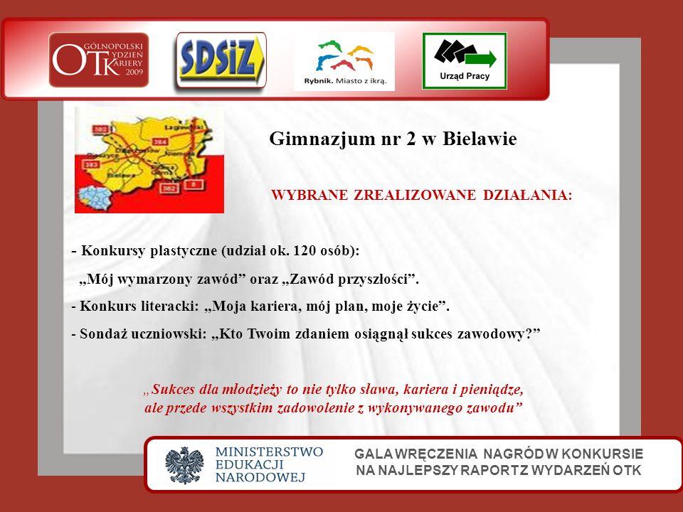 Gimnazjum nr 2 w Bielawie GALA WRĘCZENIA NAGRÓD W KONKURSIE NA NAJLEPSZY RAPORT Z WYDARZEŃ OTK WYBRANE ZREALIZOWANE DZIAŁANIA: - Konkursy plastyczne (