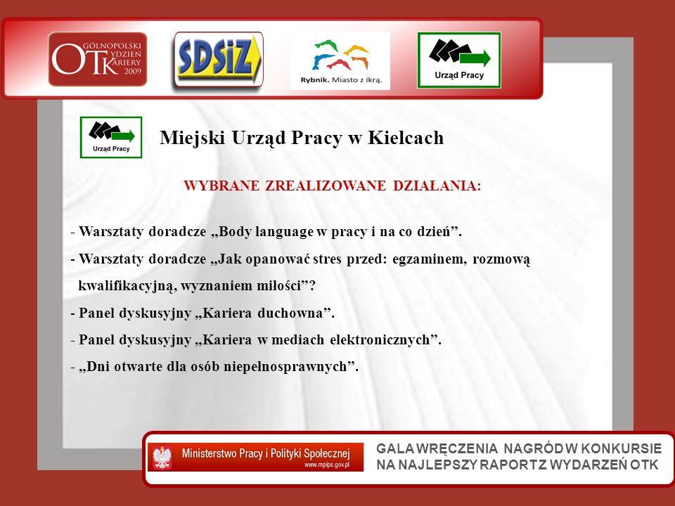 GALA WRĘCZENIA NAGRÓD W KONKURSIE NA NAJLEPSZY RAPORT Z WYDARZEŃ OTK Miejski Urząd Pracy w Kielcach WYBRANE ZREALIZOWANE DZIAŁANIA: - Warsztaty doradc