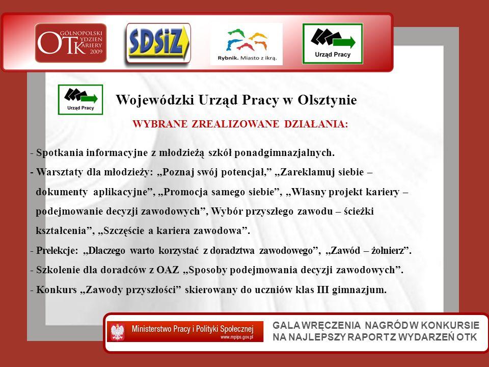 GALA WRĘCZENIA NAGRÓD W KONKURSIE NA NAJLEPSZY RAPORT Z WYDARZEŃ OTK Wojewódzki Urząd Pracy w Olsztynie WYBRANE ZREALIZOWANE DZIAŁANIA: - Spotkania in
