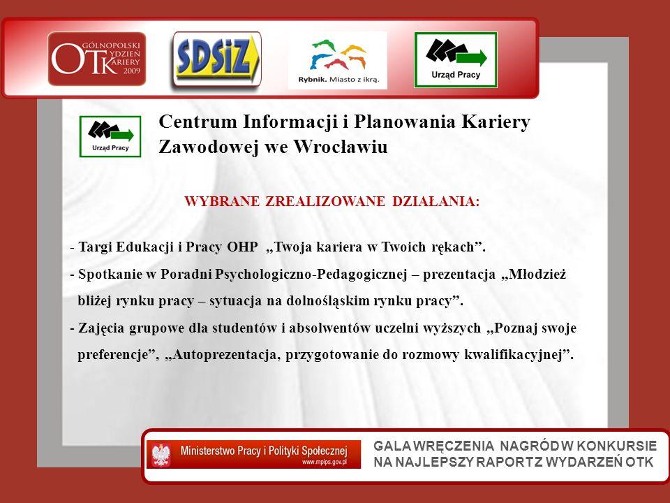 GALA WRĘCZENIA NAGRÓD W KONKURSIE NA NAJLEPSZY RAPORT Z WYDARZEŃ OTK Centrum Informacji i Planowania Kariery Zawodowej we Wrocławiu WYBRANE ZREALIZOWA