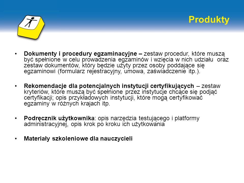 Produkty Dokumenty i procedury egzaminacyjne – zestaw procedur, które muszą być spełnione w celu prowadzenia egzaminów i wzięcia w nich udziału oraz z