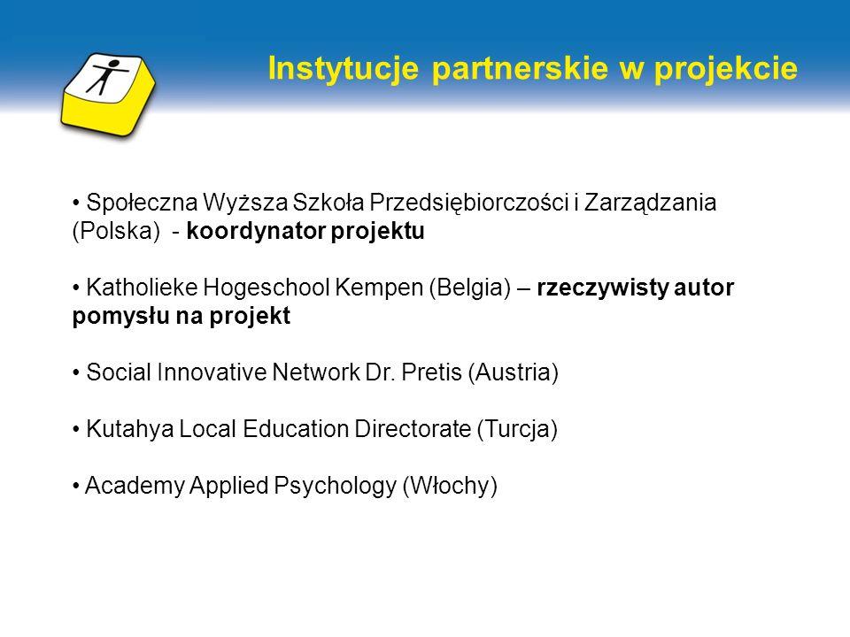 Instytucje partnerskie w projekcie Społeczna Wyższa Szkoła Przedsiębiorczości i Zarządzania (Polska) - koordynator projektu Katholieke Hogeschool Kempen (Belgia) – rzeczywisty autor pomysłu na projekt Social Innovative Network Dr.