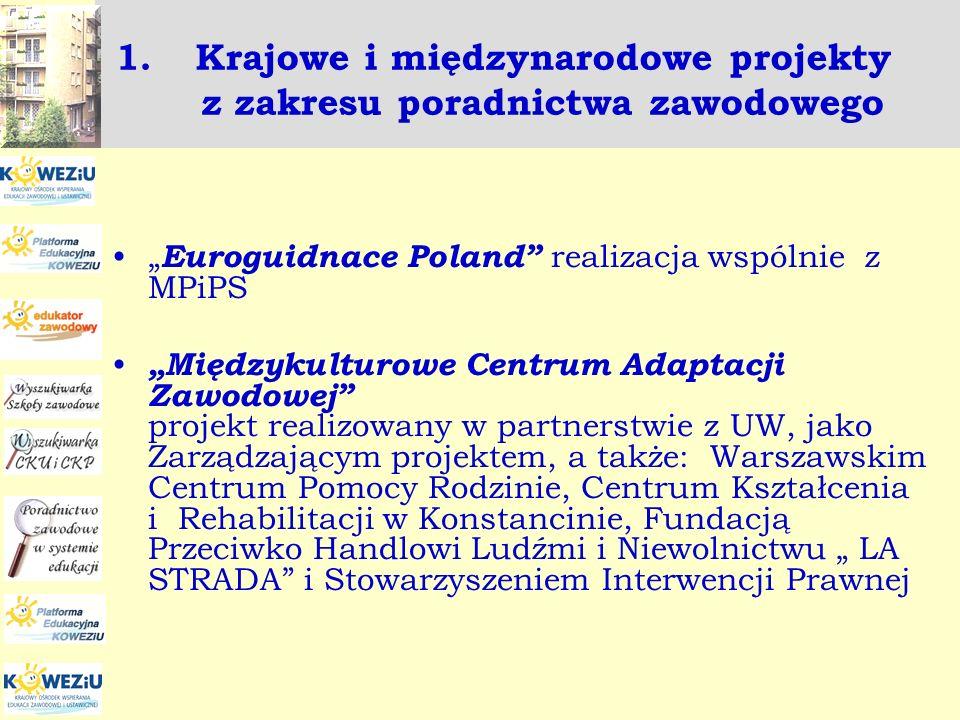 1.Krajowe i międzynarodowe projekty z zakresu poradnictwa zawodowego Euroguidnace Poland realizacja wspólnie z MPiPS Międzykulturowe Centrum Adaptacji