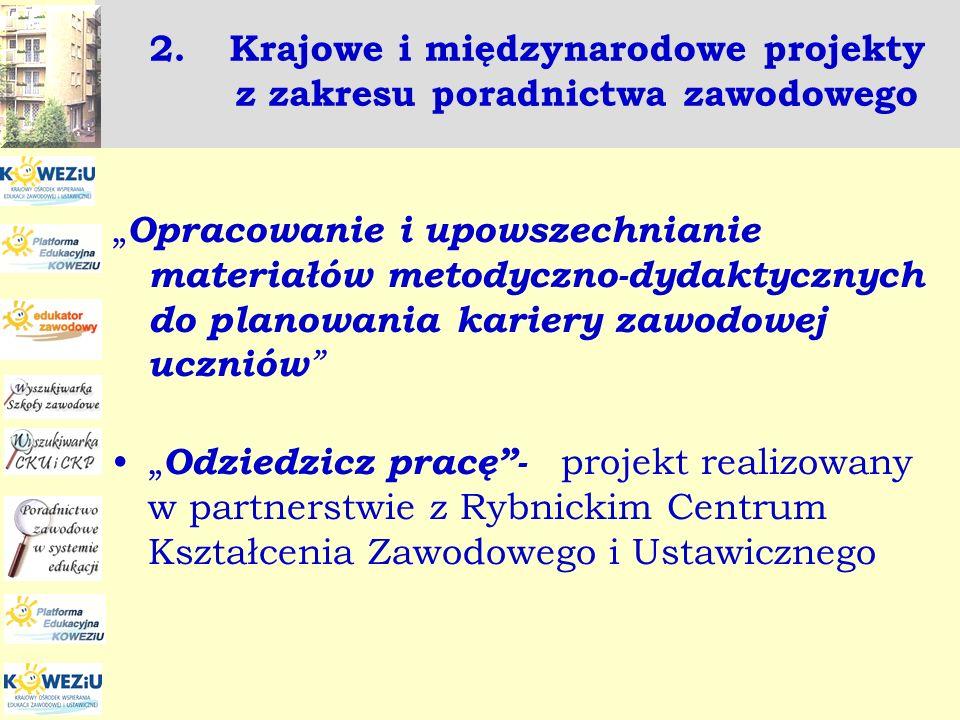 2.Krajowe i międzynarodowe projekty z zakresu poradnictwa zawodowego Opracowanie i upowszechnianie materiałów metodyczno-dydaktycznych do planowania k