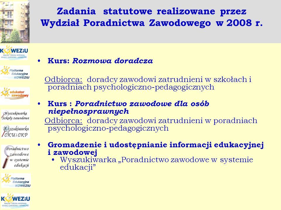 Zadania statutowe realizowane przez Wydział Poradnictwa Zawodowego w 2008 r. Kurs: Rozmowa doradcza Odbiorca: doradcy zawodowi zatrudnieni w szkołach