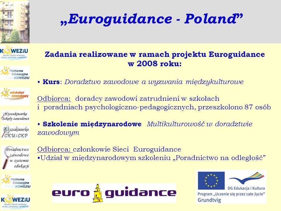 Euroguidance - Poland Zadania realizowane w ramach projektu Euroguidance w 2008 roku: Kurs : Doradztwo zawodowe a wyzwania międzykulturowe Odbiorca: d