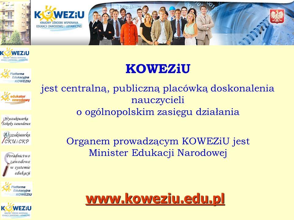 Główne zadania KOWEZiU opracowanie podstaw programowych opracowanie przykładowych programów nauczania dla zawodów, w tym programów modułowych doskonalenie kadry szkolnictwa zawodowego przygotowywanie kadr dla systemu poradnictwa oraz doradztwa zawodowego w obszarze kształcenia zawodowego i ustawicznego,