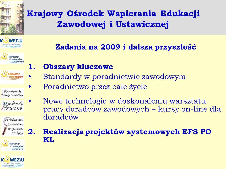 Krajowy Ośrodek Wspierania Edukacji Zawodowej i Ustawicznej Zadania na 2009 i dalszą przyszłość 1.Obszary kluczowe Standardy w poradnictwie zawodowym