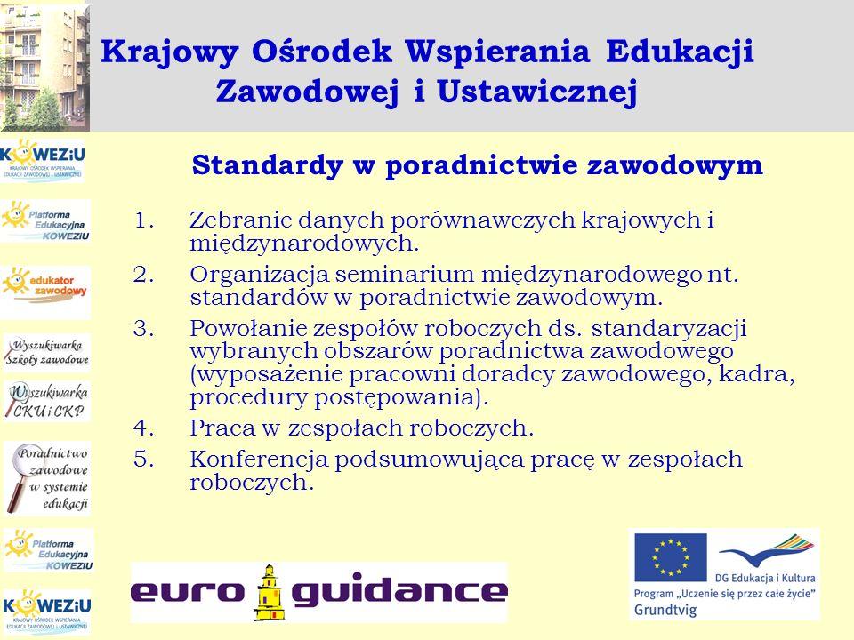 Krajowy Ośrodek Wspierania Edukacji Zawodowej i Ustawicznej Standardy w poradnictwie zawodowym 1.Zebranie danych porównawczych krajowych i międzynarod
