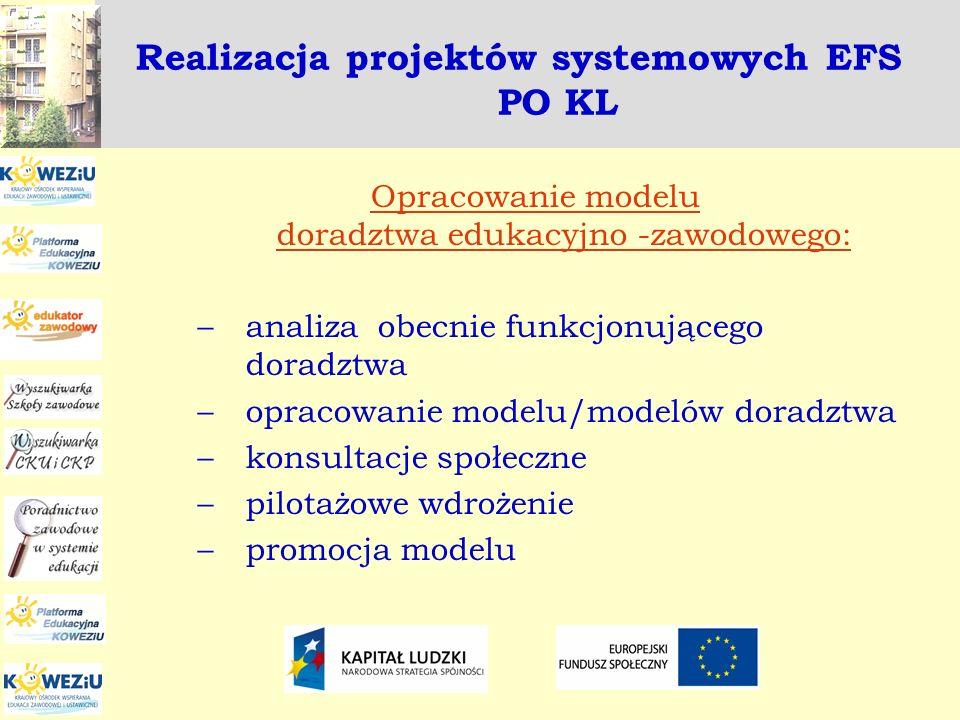 Realizacja projektów systemowych EFS PO KL Opracowanie modelu doradztwa edukacyjno -zawodowego: –analiza obecnie funkcjonującego doradztwa –opracowani