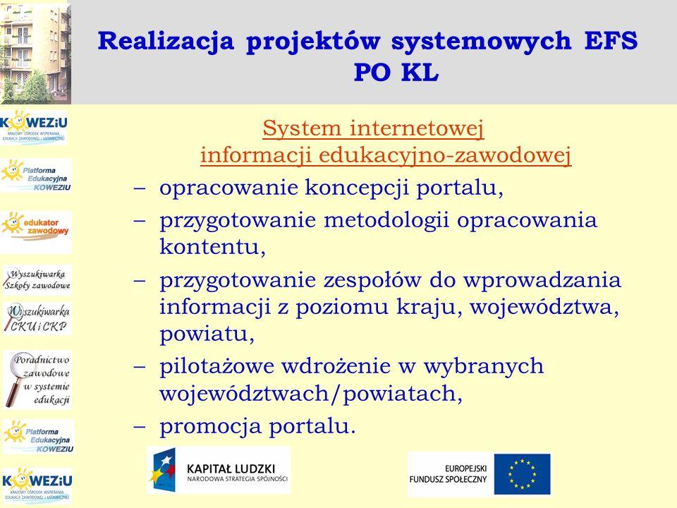 Realizacja projektów systemowych EFS PO KL System internetowej informacji edukacyjno-zawodowej –opracowanie koncepcji portalu, –przygotowanie metodolo