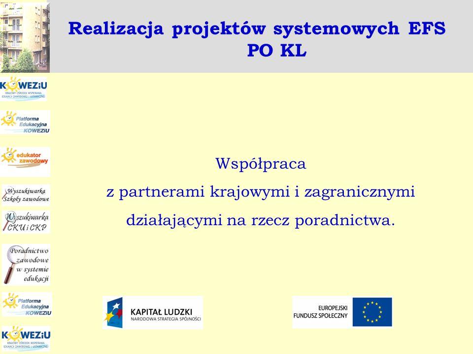 Realizacja projektów systemowych EFS PO KL Współpraca z partnerami krajowymi i zagranicznymi działającymi na rzecz poradnictwa.