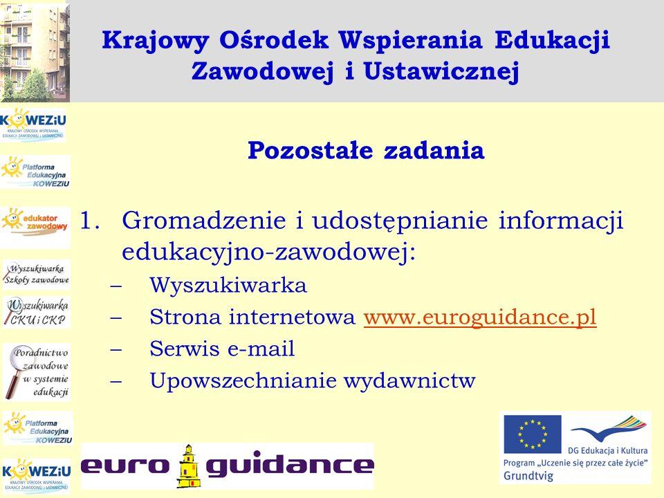 Krajowy Ośrodek Wspierania Edukacji Zawodowej i Ustawicznej Pozostałe zadania 1.Gromadzenie i udostępnianie informacji edukacyjno-zawodowej: –Wyszukiw
