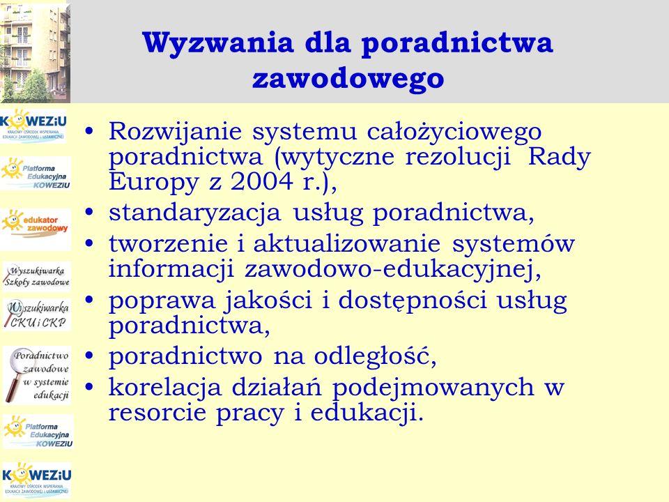Wyzwania dla poradnictwa zawodowego Rozwijanie systemu całożyciowego poradnictwa (wytyczne rezolucji Rady Europy z 2004 r.), standaryzacja usług porad