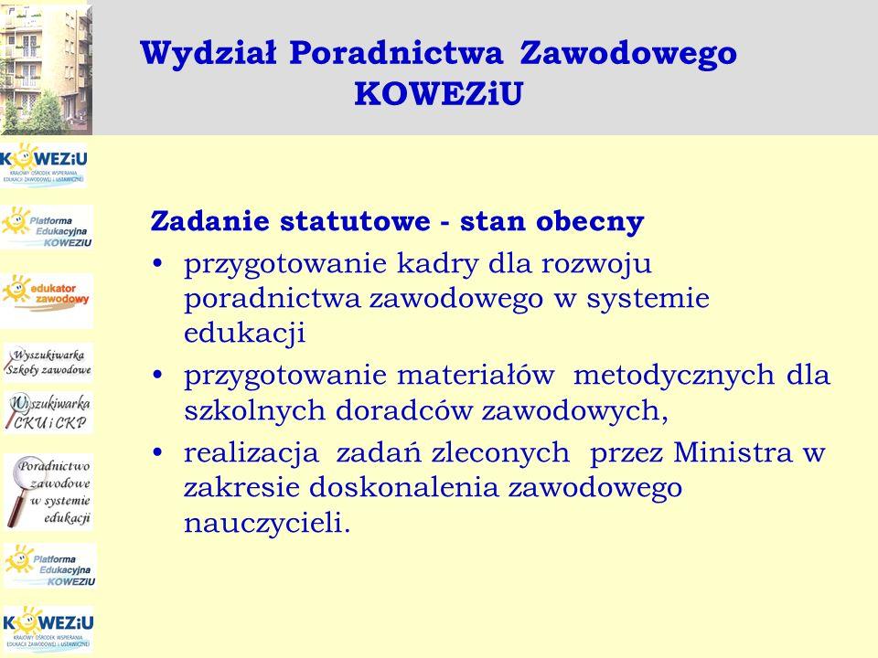 Wydział Poradnictwa Zawodowego KOWEZiU Zadanie statutowe – nowelizacja Przygotowanie kadr dla systemu poradnictwa oraz doradztwa zawodowego, a w szczególności w obszarze kształcenia zawodowego i ustawicznego.