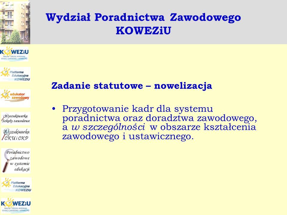 Wydział Poradnictwa Zawodowego KOWEZiU Zadanie statutowe – nowelizacja Przygotowanie kadr dla systemu poradnictwa oraz doradztwa zawodowego, a w szcze