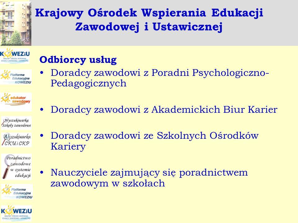 Euroguidance - Poland Zadania realizowane w ramach projektu Euroguidance w 2008 roku: Kurs : Doradztwo zawodowe a wyzwania międzykulturowe Odbiorca: doradcy zawodowi zatrudnieni w szkołach i poradniach psychologiczno-pedagogicznych, przeszkolono 87 osób Szkolenie międzynarodowe Multikulturowość w doradztwie zawodowym Odbiorca: członkowie Sieci Euroguidance Udział w międzynarodowym szkoleniu Poradnictwo na odległość