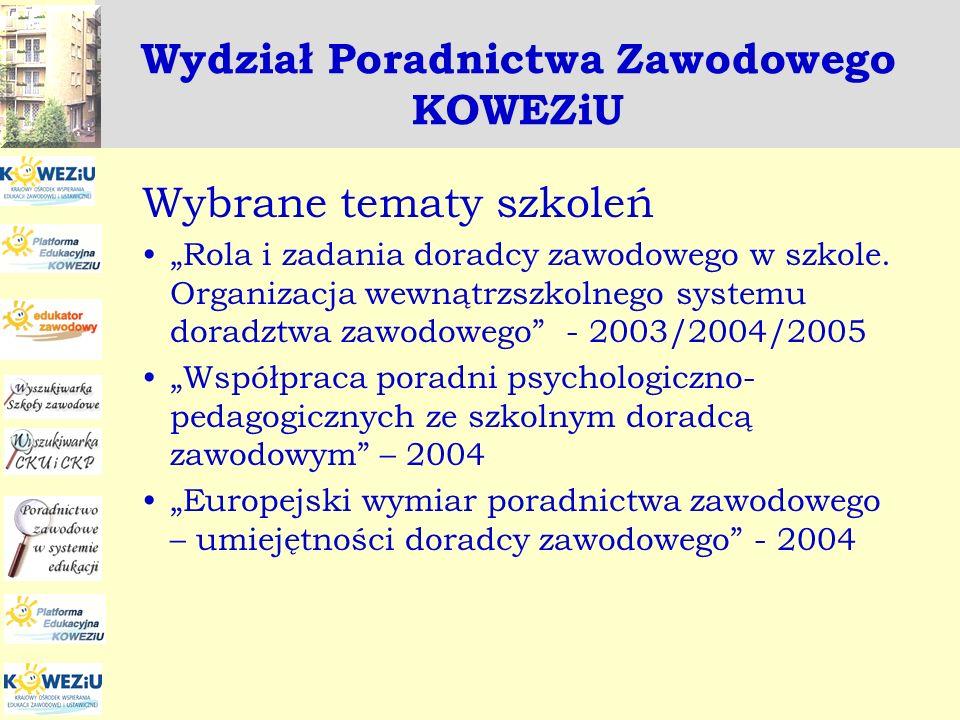 Zadania realizowane w ramach projektu Euroguidnace w 2008 roku Wydanie publikacji: » ABC doradcy zawodowego » Studiuj za granicą » Doradztwo zawodowe a wyzwania międzykulturowe – wersja anglojęzyczna Udział w międzynarodowych spotkaniach Sieci Euroguidance oraz w wizytach studyjnych Euroguidance - Poland