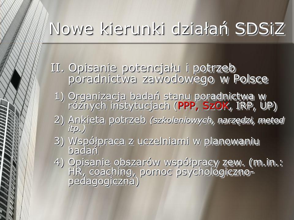 Nowe kierunki działań SDSiZ II. Opisanie potencjału i potrzeb poradnictwa zawodowego w Polsce 1) Organizacja badań stanu poradnictwa w różnych instytu