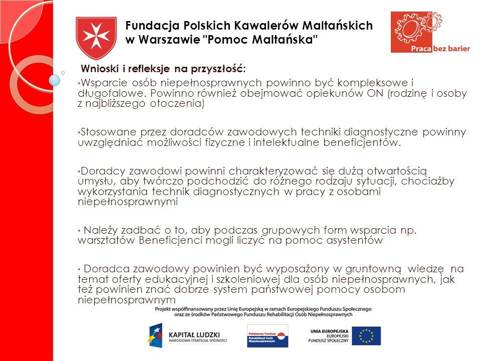 DZIĘKUJĘ ZA UWAGĘ KAROLINA EMANOWICZ- DORADCA ZAWODOWY Fundacja Polskich Kawalerów Maltańskich w Warszawie Pomoc Maltańska
