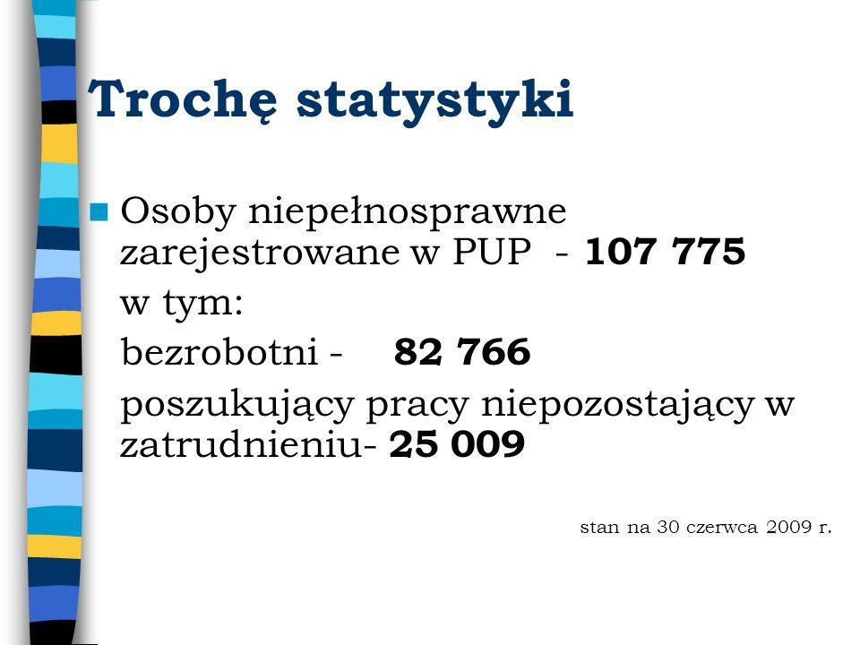 Trochę statystyki Osoby niepełnosprawne zarejestrowane w PUP - 107 775 w tym: bezrobotni - 82 766 poszukujący pracy niepozostający w zatrudnieniu- 25